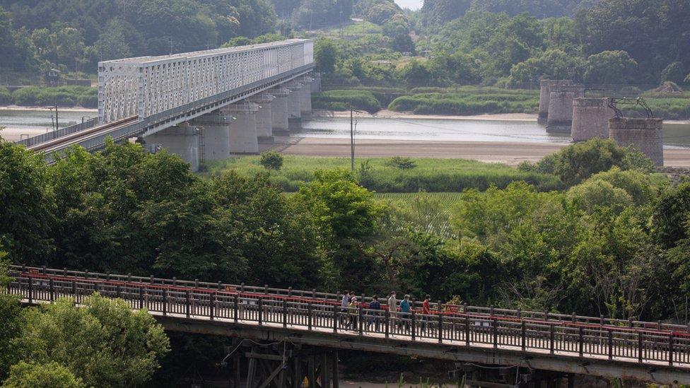從韓國坡州非軍事區眺望連接朝鮮的臨津江自由之橋(17/6/2020)
