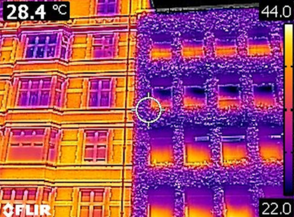 Infrared image of masonry wall (left) and green wall (right).
