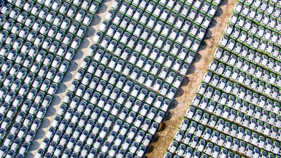 Aerial view of electric cars lining up in Huzhou, Zhejiang