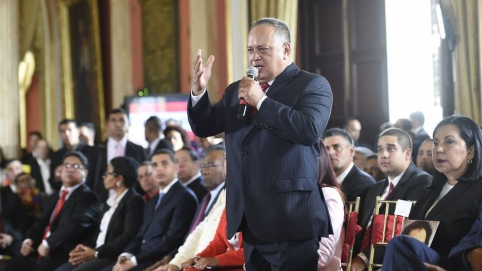 Member of the Constituent Assembly Diosdado Cabello (C), delivers a speech during the Assembly's installation at the National Congress in Caracas on August 4, 2017.