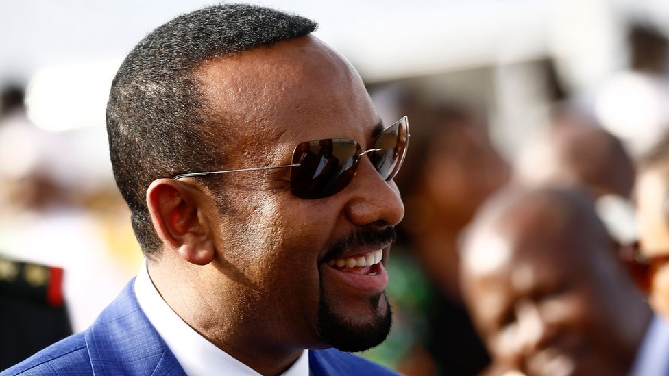 Ethiopian Prime Minister Abiy Ahmed arrives in Khartoum for an official visit to Sudan on 2 May 2018.