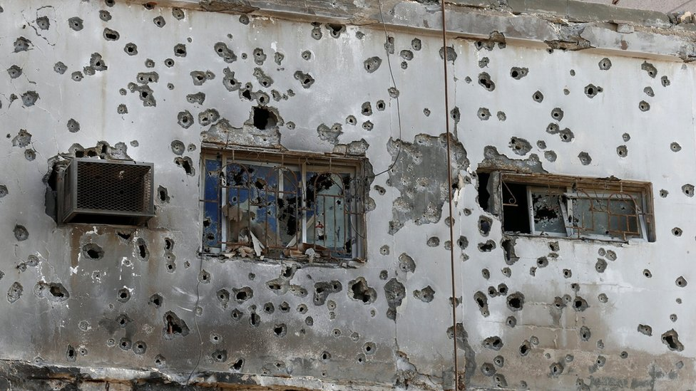 Bullet-ridden building in Awamiya, Saudi Arabia (9 August 2017)
