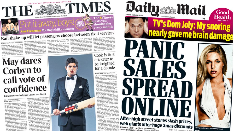 Newspaper headlines: May 'dares Corbyn' and retail 'panic'