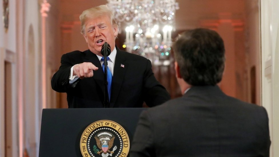 Trump points to Jim Acosta during news conference