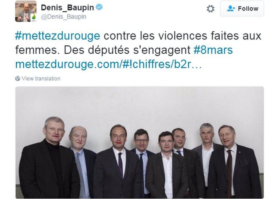 Denis Baupin tweets support for a campaign targeting violence against women (8 March)