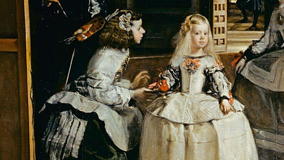 A infanta Margarita e uma criada no quadro 'As Meninas'