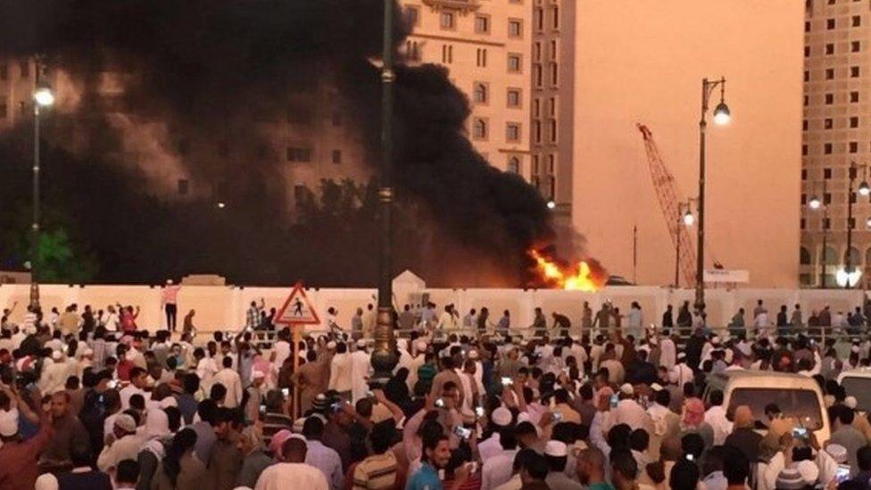 Bomb blast site in Medina, 4 July