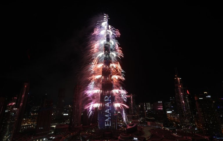 Fireworks at the Burj Khalifa, Dubai