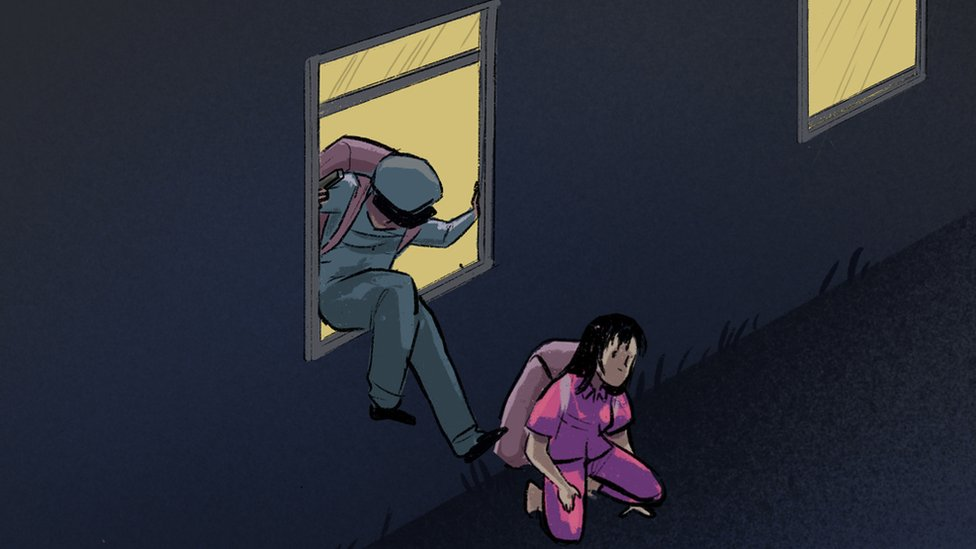 Illustration of the prisoner sneaking out with the guard