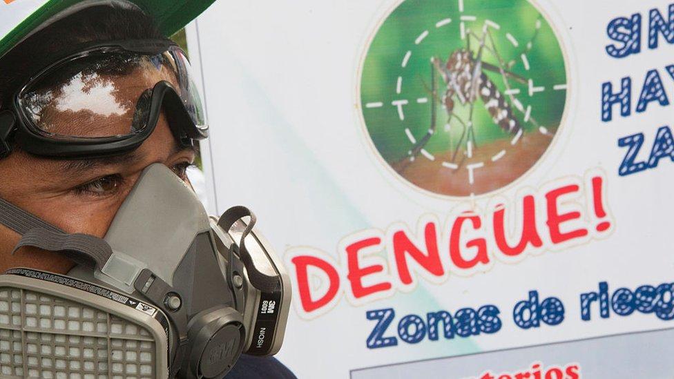 Un hombre con una máscara protectora pasa frente a un cartel que advierte del dengue
