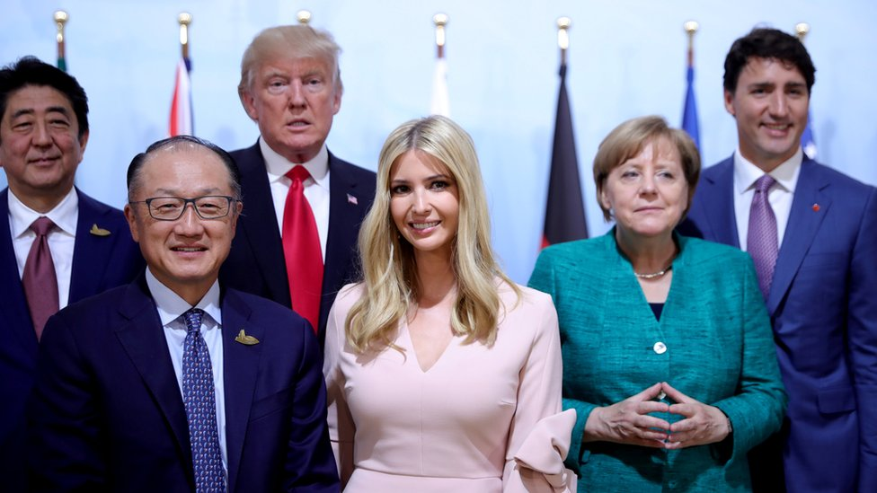 Japan's Prime Minister Shinzo Abe, World Bank President Jim Yong Kim, U.S. President Donald Trump, Ivanka Trump, German Chancellor Angela Merkel and Canada's Prime Minister Justin Trudeau pose for the family photo at the Women's Entrepreneurship Finance event during the G20 leaders summit in Hamburg, Germany July 8, 2017.