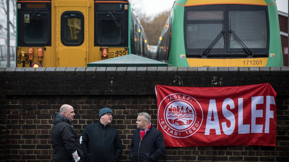 Southern rail workers on strike