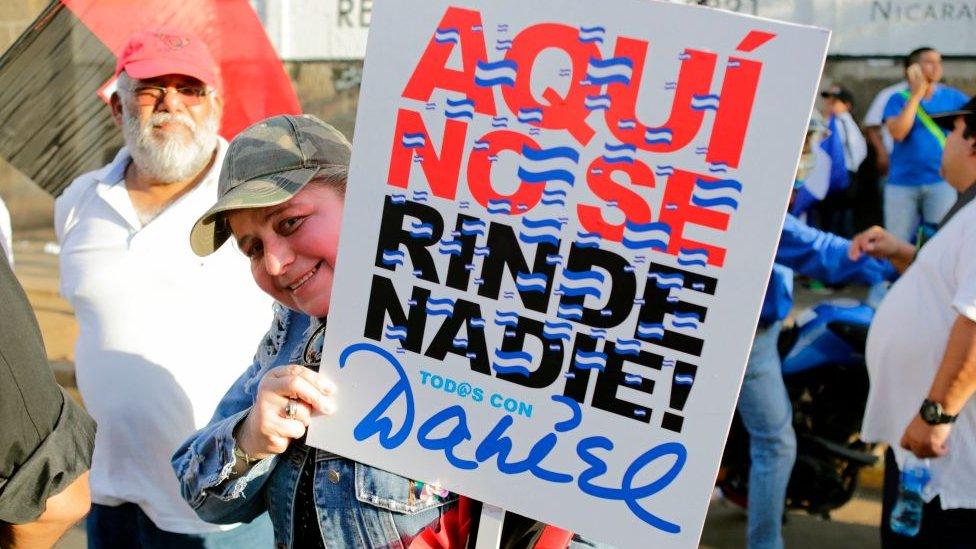 Manifestación a favor de Daniel Ortega
