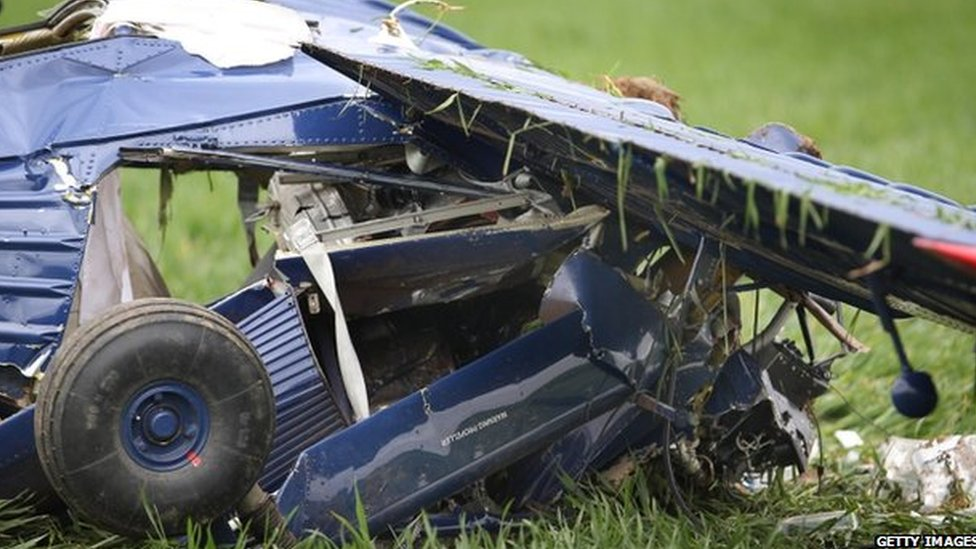 The wreckage of Nigel Farage's plane crash