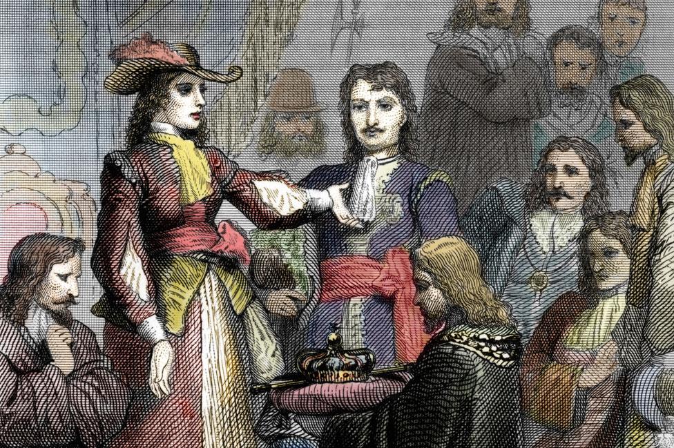 Dibujo de la coronación de Cristina en 1650