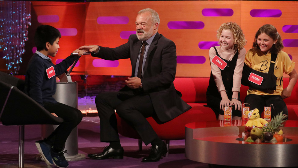 Graham Norton with Julio, Iara and Emma