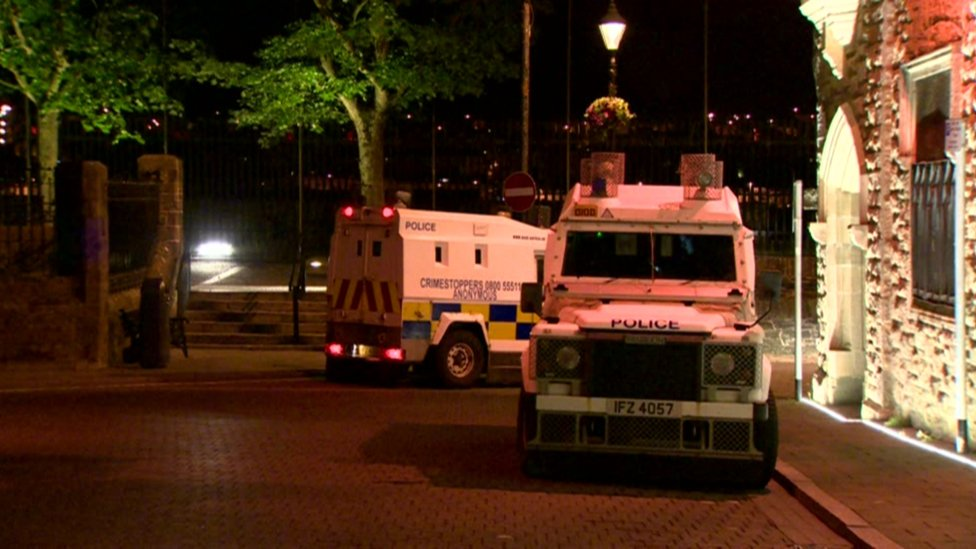 Derry Walls with PSNI Landrovers