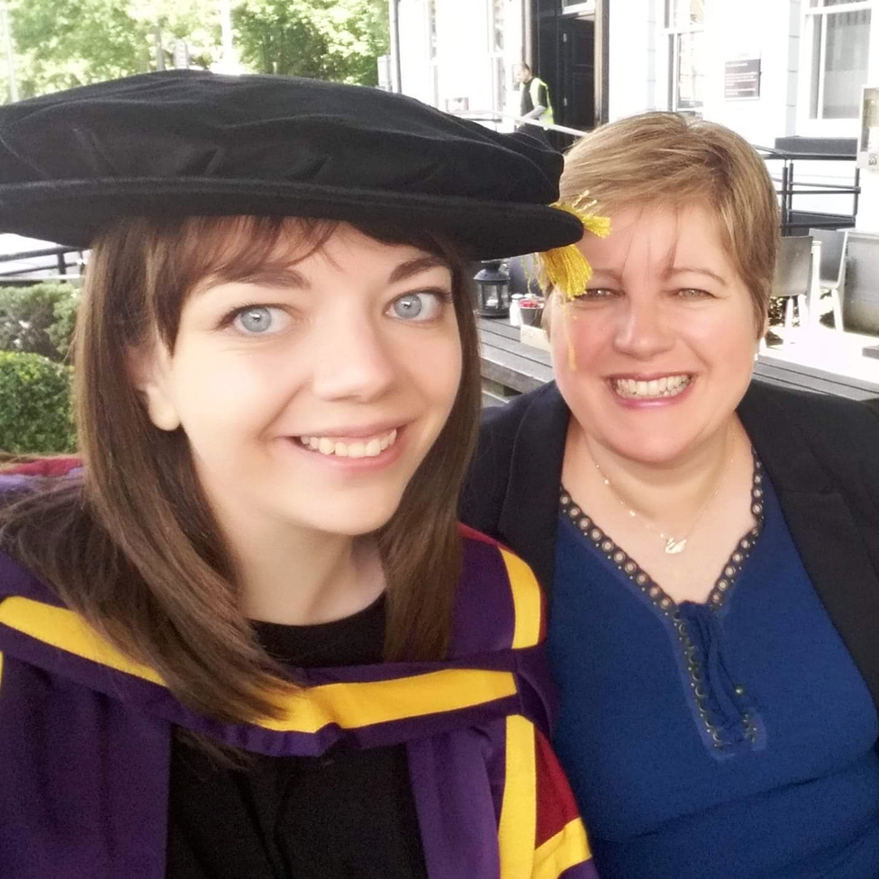 Becky getting her PhD from Manchester University, with Julie