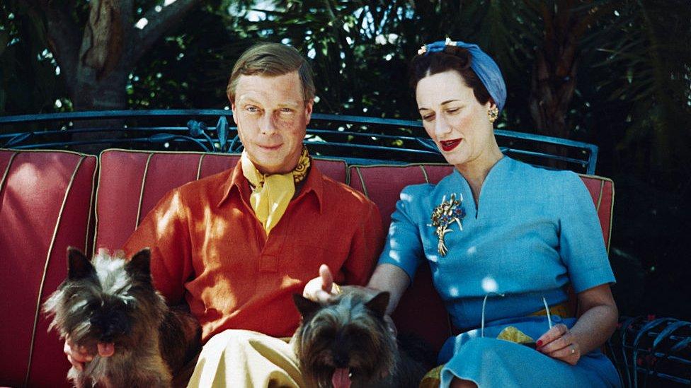 دوق ودوقة ويندسور مع كلبيهما