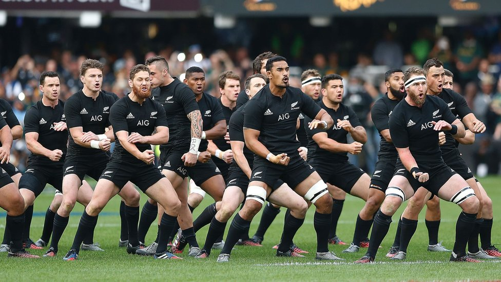 The New Zealand All Blacks perform the Haka during the Rugby Championship match between South Africa and New Zealand at Kingspark Rugby stadium in Durban on 8 October 2016.