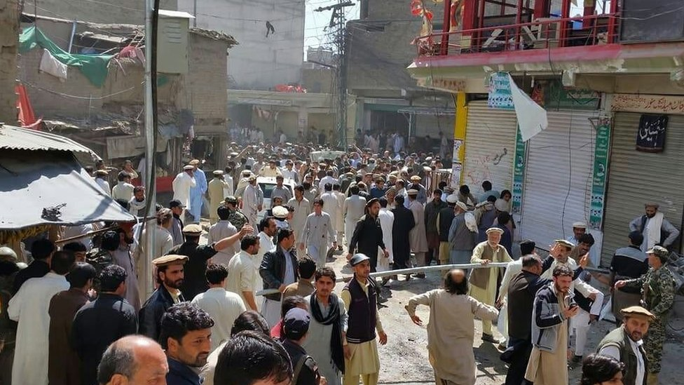 Residents gathered at the scene of the blast