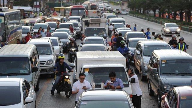 Gridlocked Manila traffic in November 2015