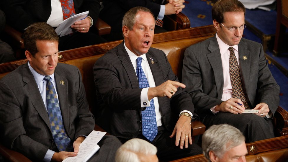 "Republican Congressman Joe Wilson shouted ""You lie"" at Mr Obama during his remarks in 2009"