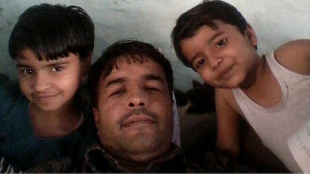 Sunil Jaglan with his children