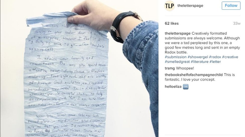 The Letters Page instagram account. Hand holding up letter which was sent in a Radox bottle. Copy says 'Creatively formatted submissions are always welcome. Although we were a tad perplexed by this one, a good few metres long and sent in an empty Radox bottle