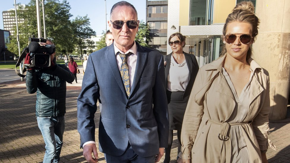 Paul Gascoigne arriving at Teesside Crown Court with personal manager Katie Davies