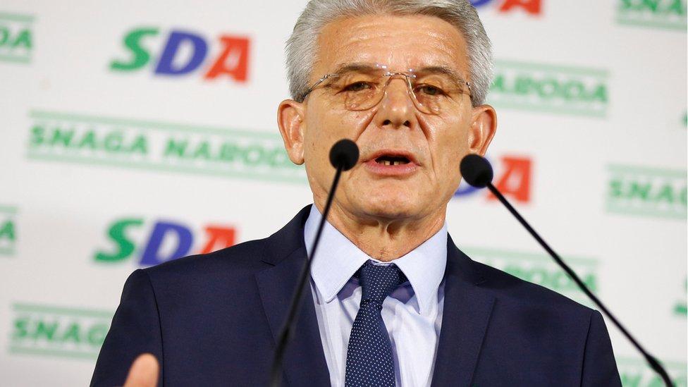 Sefik Dzaferovic of the SDA declares himself the winner of the Bosniak seat of the tripartite Bosnian presidency in Sarajevo, Bosnia, October 7, 2018