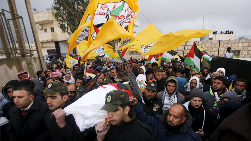 Members of Palestinian security forces carry the body of Palestinian teenager Ruqayya Abu Eid, 13, during her funeral south of Hebron