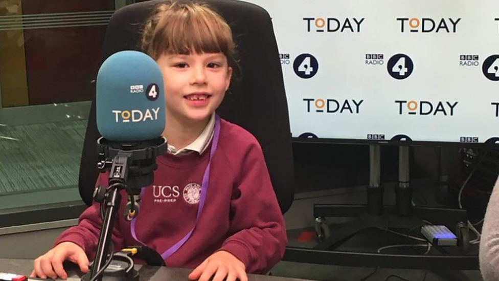 Emily, aged 6, is the program today.