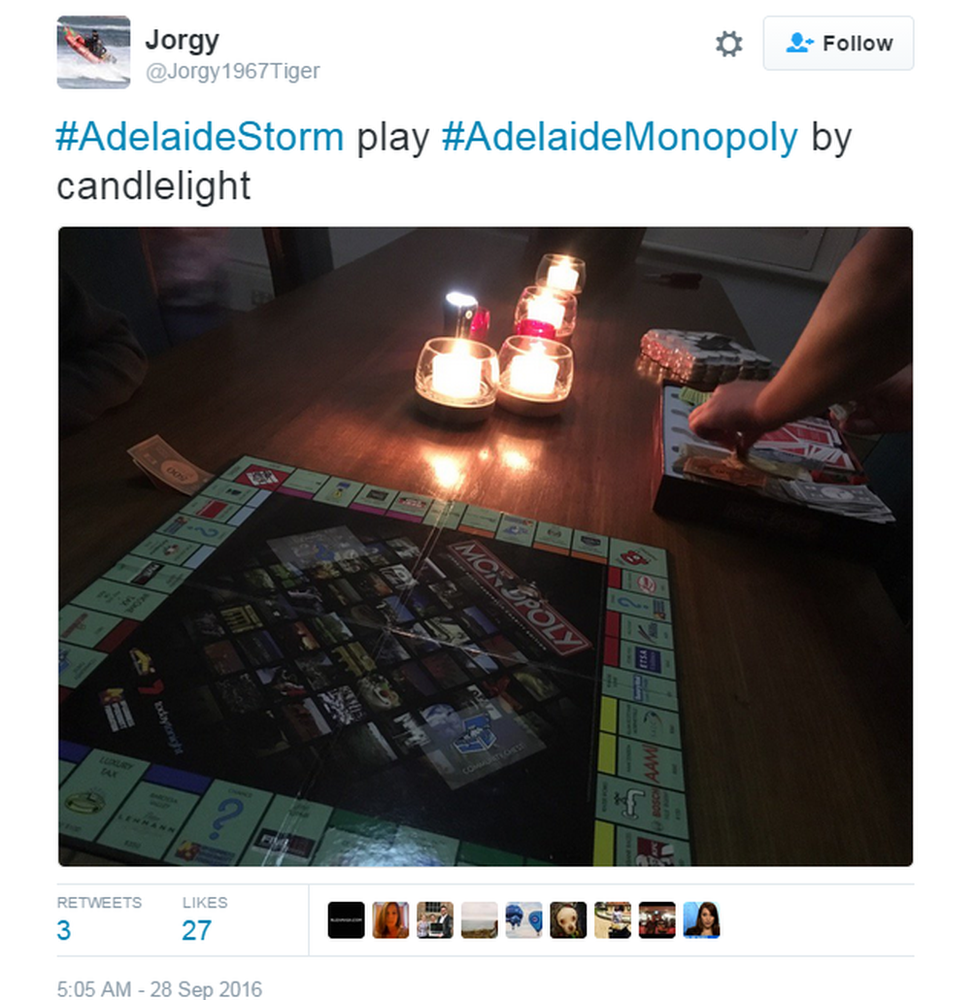 """Tweet: """"#AdelaideStorm play #AdelaideMonopoly by candlelight"""""""