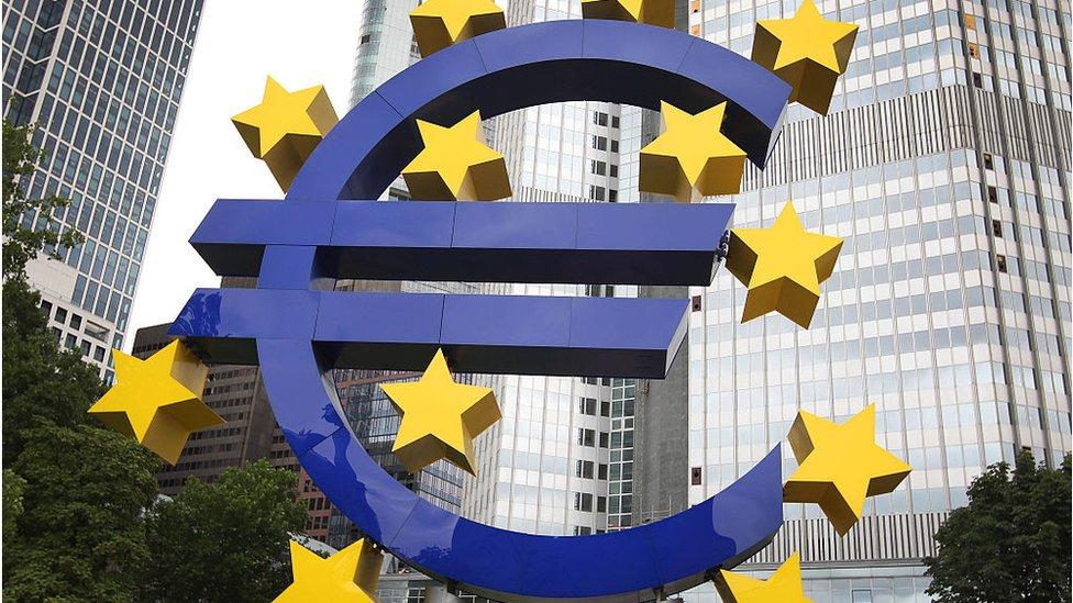 Euro logo sculpture in Frankfurt