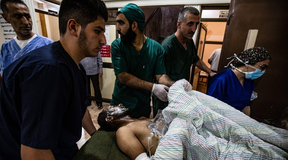 Patient being treated in a hospital in northern Syria