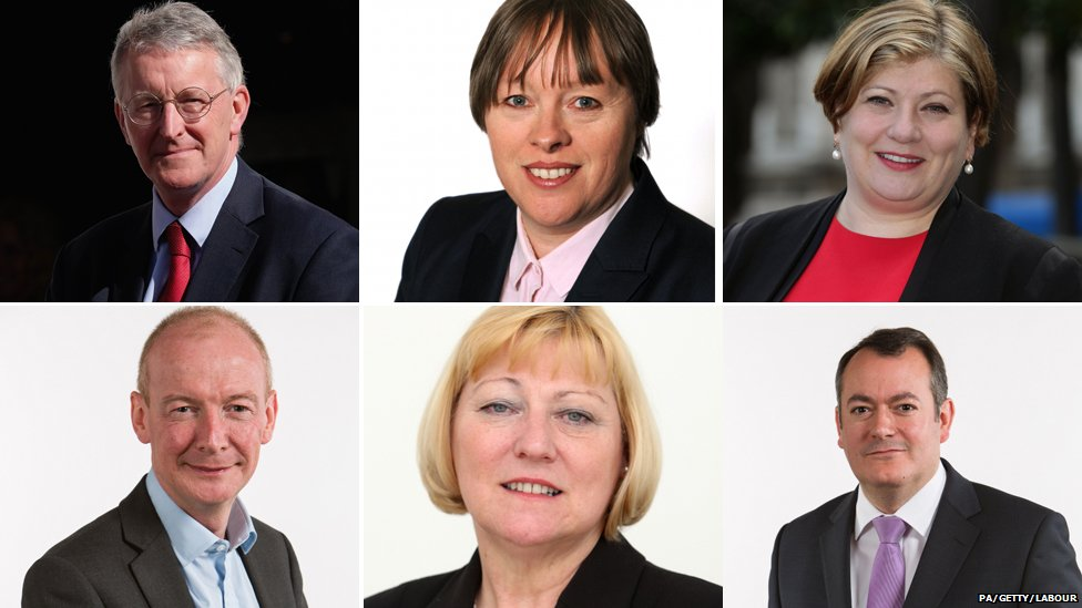 Clockwise from top left: Hilary Benn, Maria Eagle, Emily Thornberry, Michael Dugher, Pat Glass and Pat McFadden