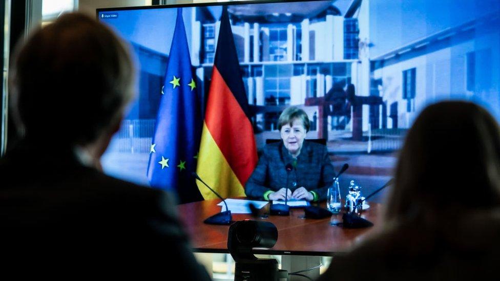 Nemačka kancelarka Angela Merkel na video konferenciji