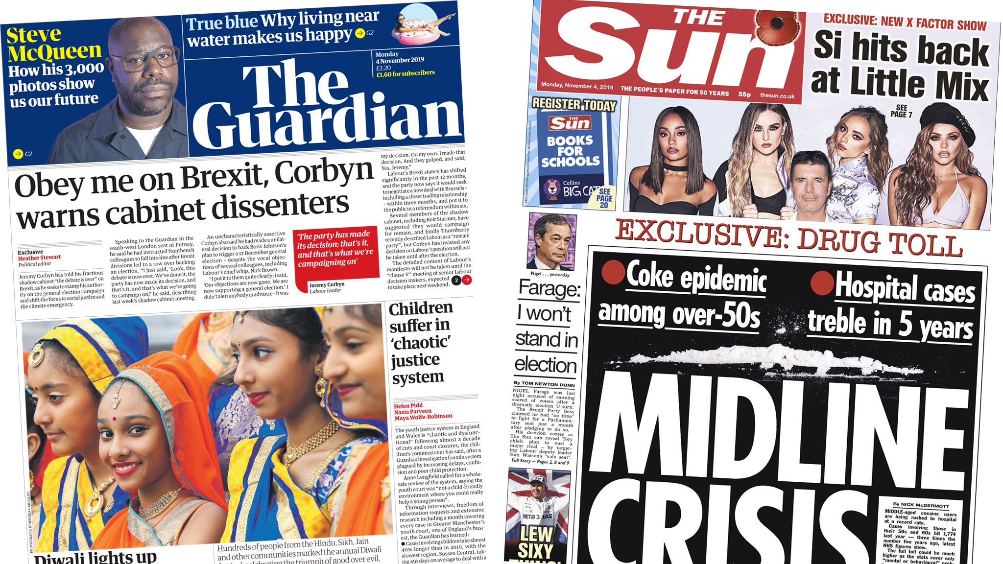 The Guardian and Sun front pages