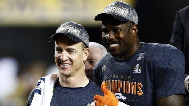 Denver's Peyton Manning and Super Bowl MVP Von Miller