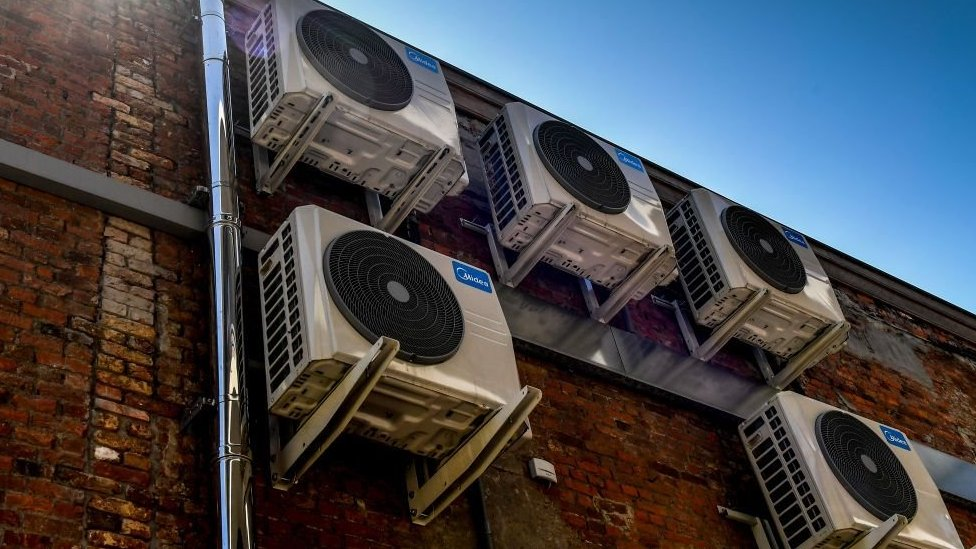 Air-conditioning units on a wall