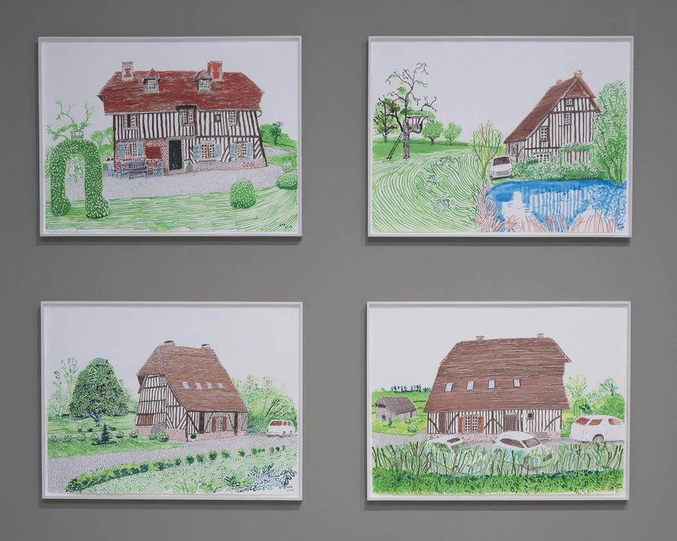 Dibujos de David Hockney hecho en Normandía, Francia.