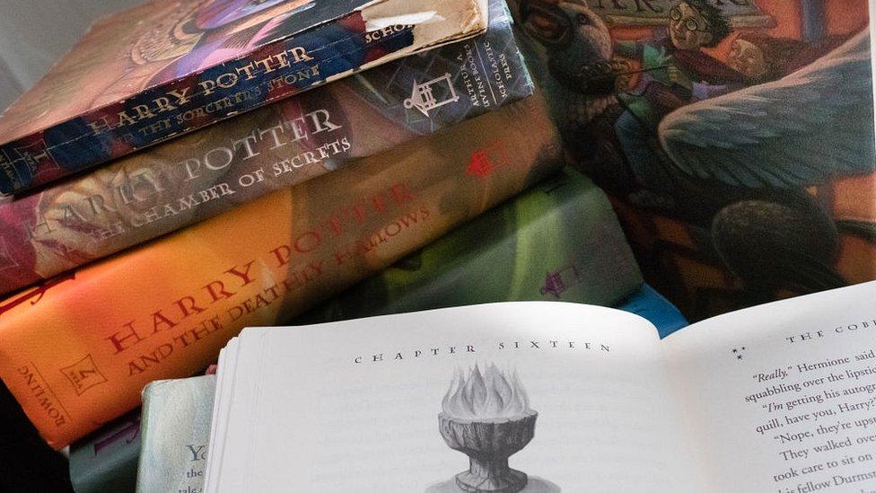 Varios libros de la serie de Harry Potter