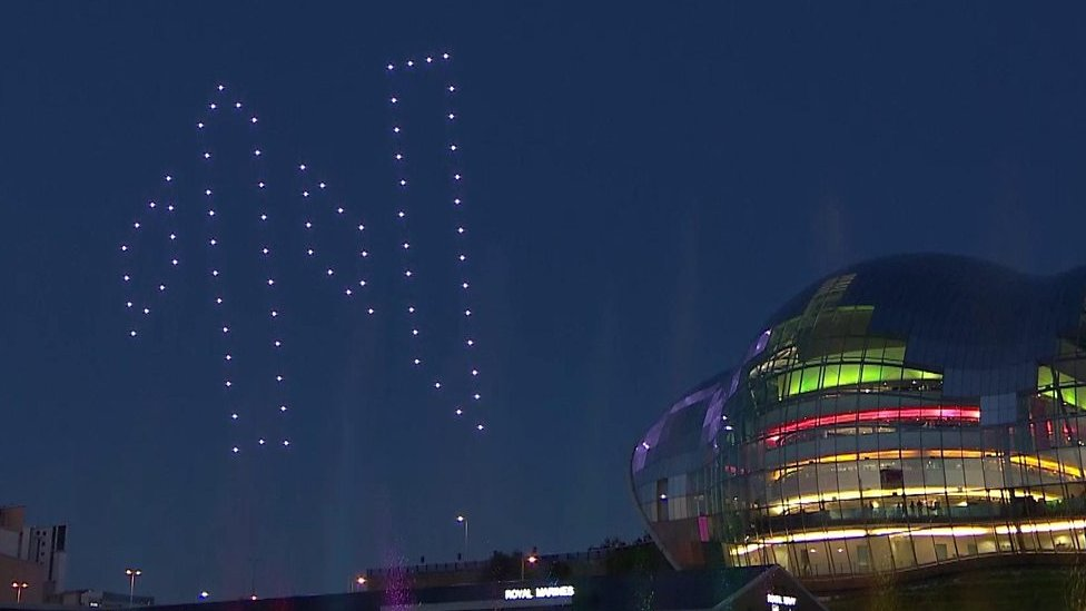 Great Exhibition of the North drone light display in rehearsal