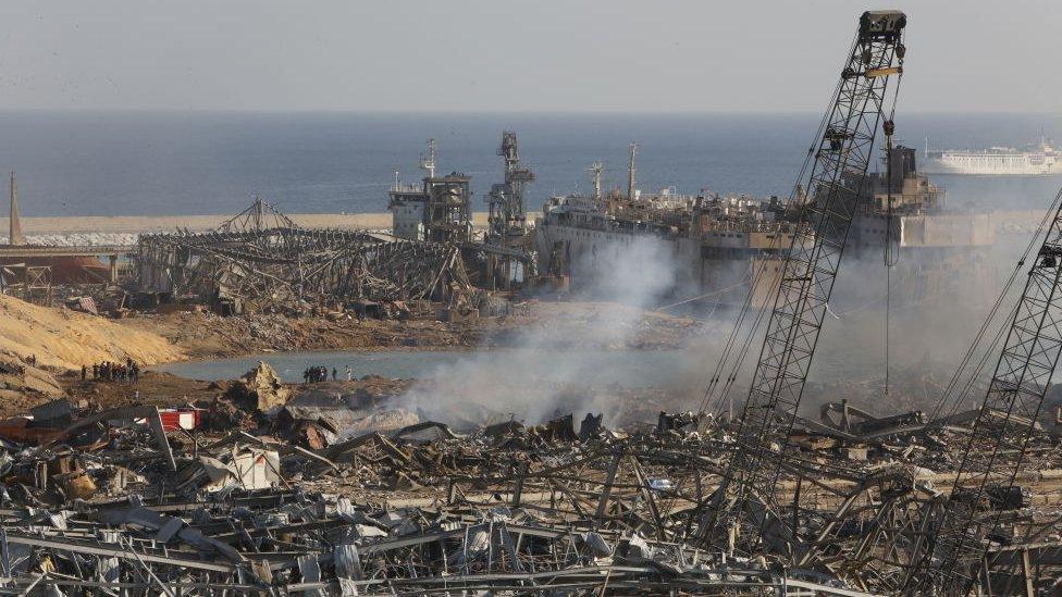 Puerto de Beirut tras la explosión.