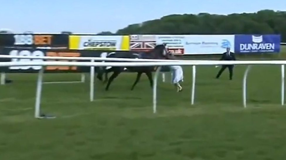 TV presenter Hayley Moore tackles racehorse at Chepstow