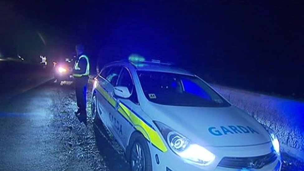 Gardai at the scene of the crash