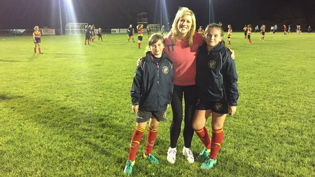 Jenny with two rugby girls