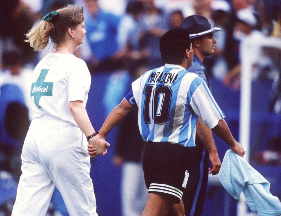 Diego dio positivo en un control antidopaje en 1994 y fue excluido del Mundial.