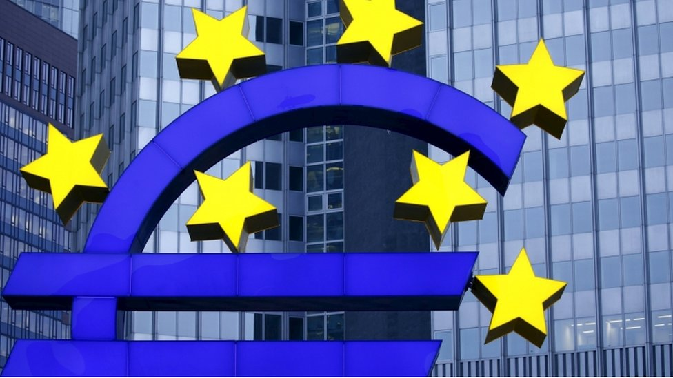 Euro sign outside the former headquarters of the European Central Bank in Frankfurt, Germany